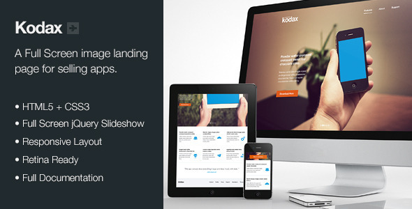 ThemeForest Kodax Full Screen Landing Page Marketing Landing Pages Creative 3634009