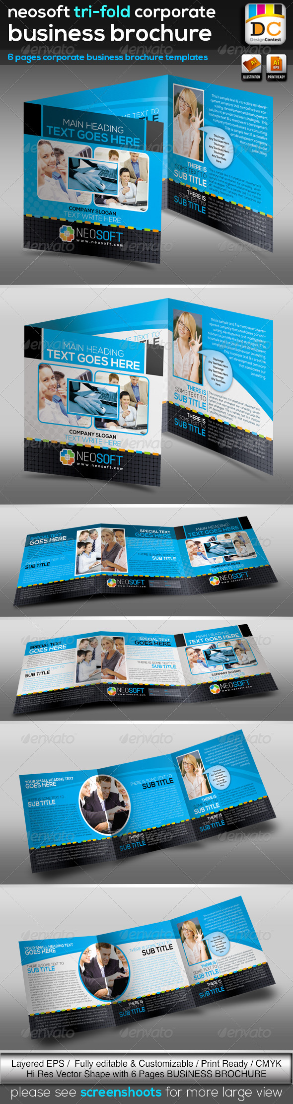 GraphicRiver NeoSoft Tri-fold Corporate Business Brochure V-02 3634939