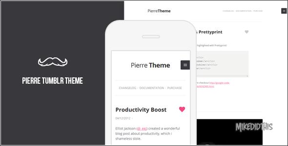 ThemeForest Pierre A Super Clean Tumblr Theme Blogging Tumblr 3635113