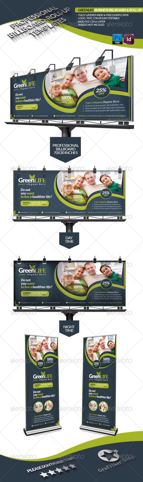 GraphicRiver Green Life Business Billboard Roll-Up 3637083