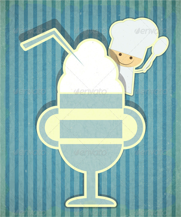 GraphicRiver Design of Dessert Menu with Chef and Ice Cream 3638135