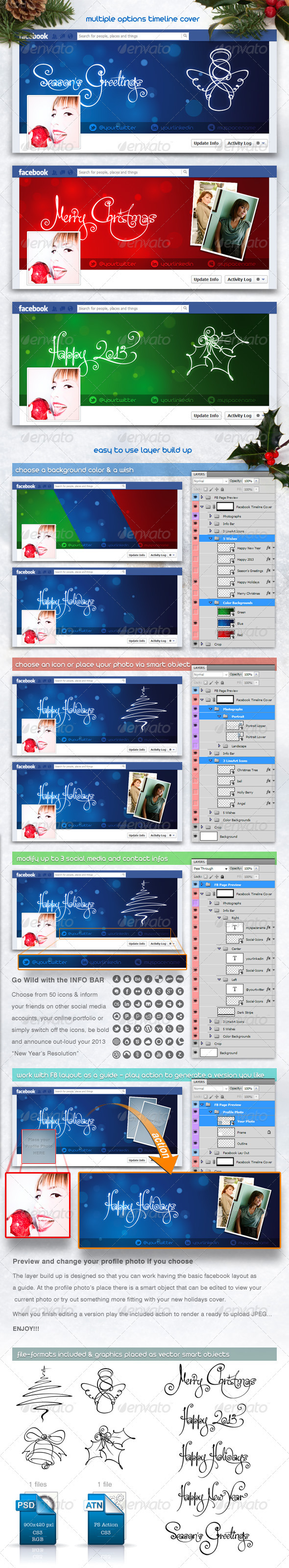 GraphicRiver FB Christmas and New Year Multiple Timeline Cover 3640968