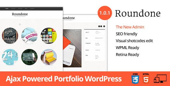 ThemeForest Roundone Ultimate Portfolio WP Theme WordPress Creative Portfolio 3581584