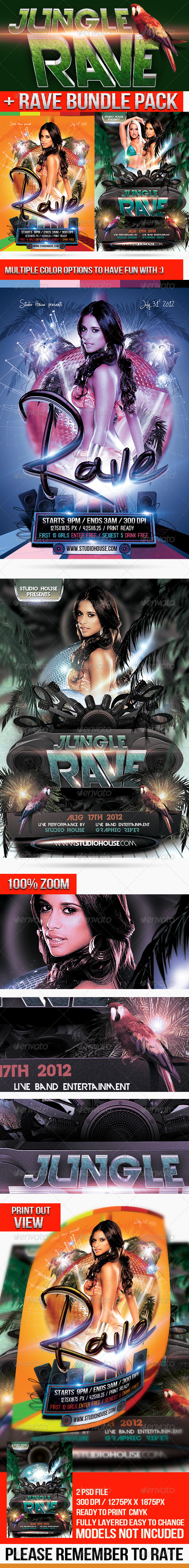 GraphicRiver Rave Ultra Party flyer bundle 3654384
