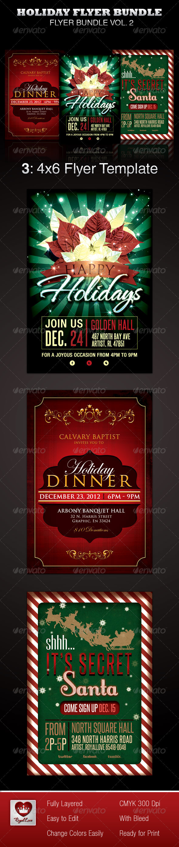 GraphicRiver Holiday Flyer Template Bundle 3655619