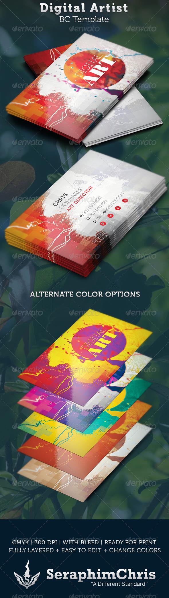 GraphicRiver Digital Artist Business Card Template 3656269