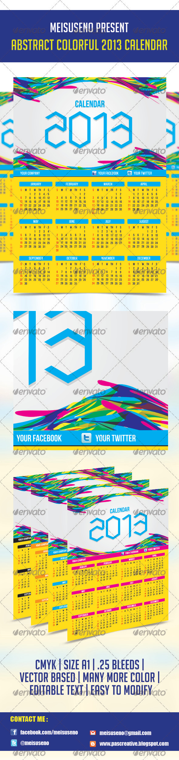 GraphicRiver Abstract Colorful 2013 Calendar Template 3656426