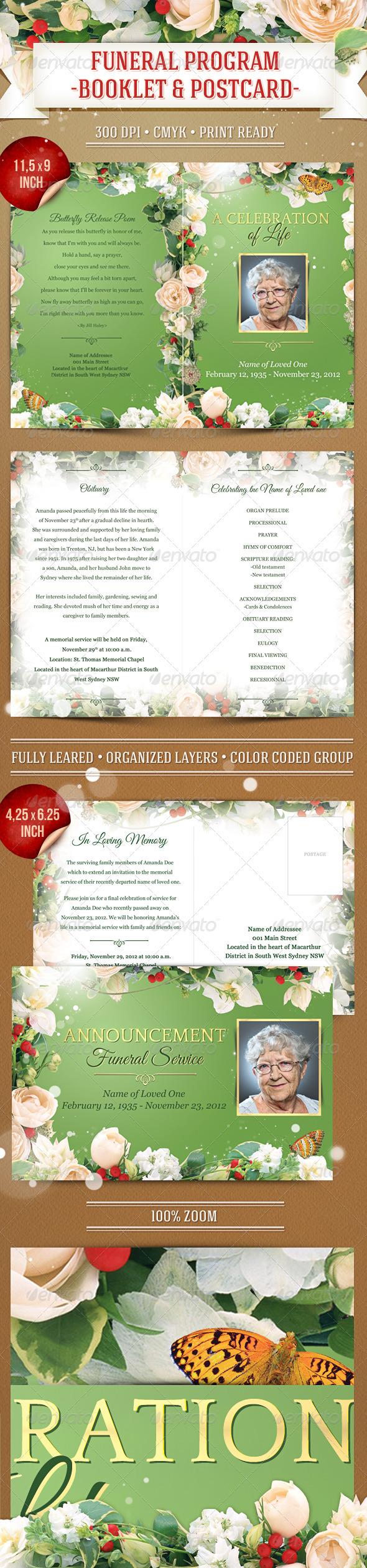 GraphicRiver Funeral Program Template Booklet & Postcard 3656880