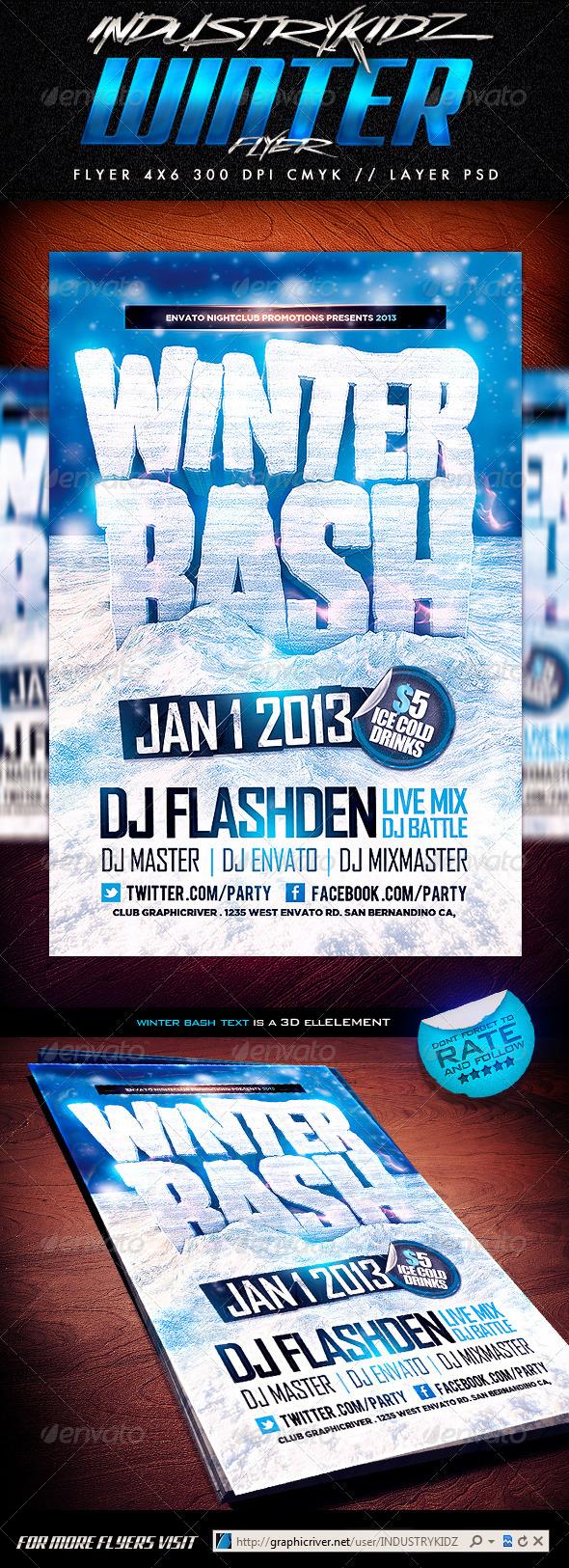 GraphicRiver Winter Bash PSD Flyer 3657429