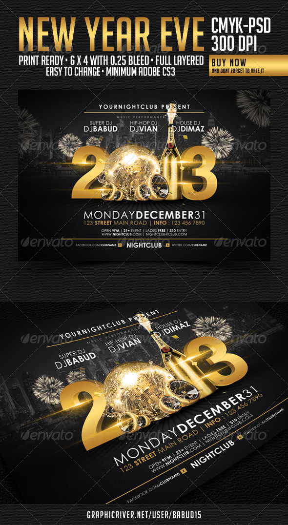 GraphicRiver New Year Flyer Template 3667108