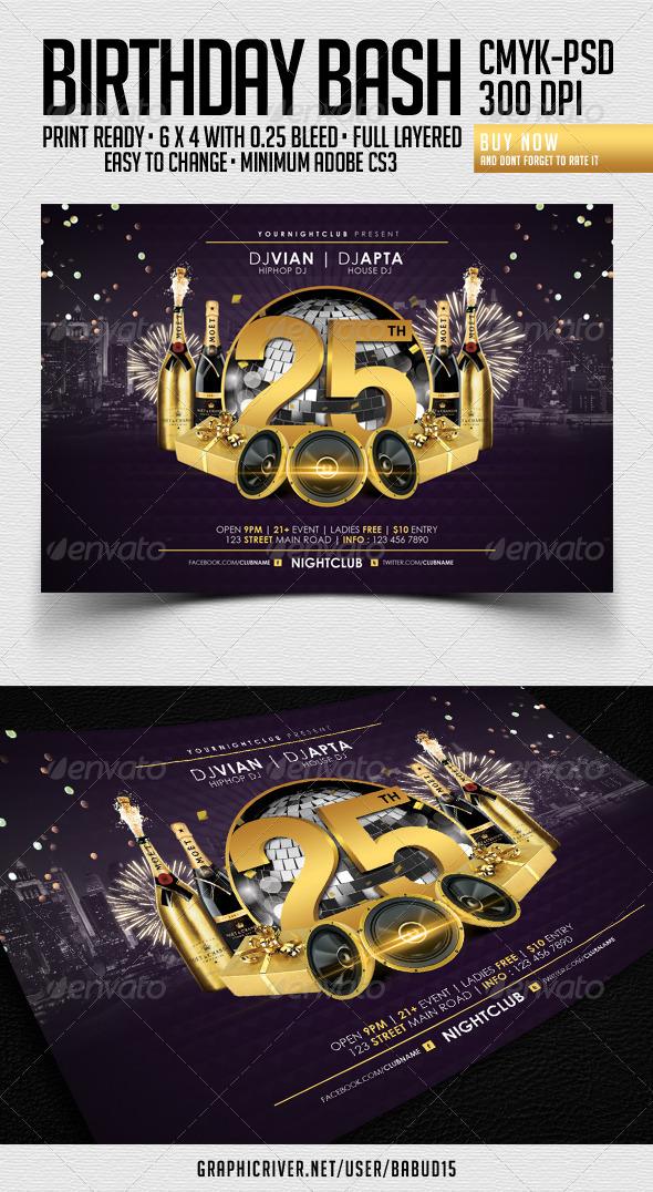 GraphicRiver Birthday Bash Flyer Template 3684895