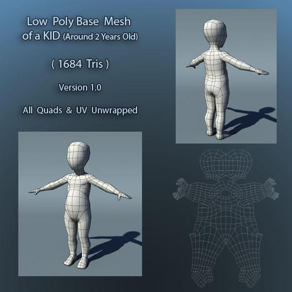 3DOcean Kid Low Poly Base Mesh Ver1.0 397245