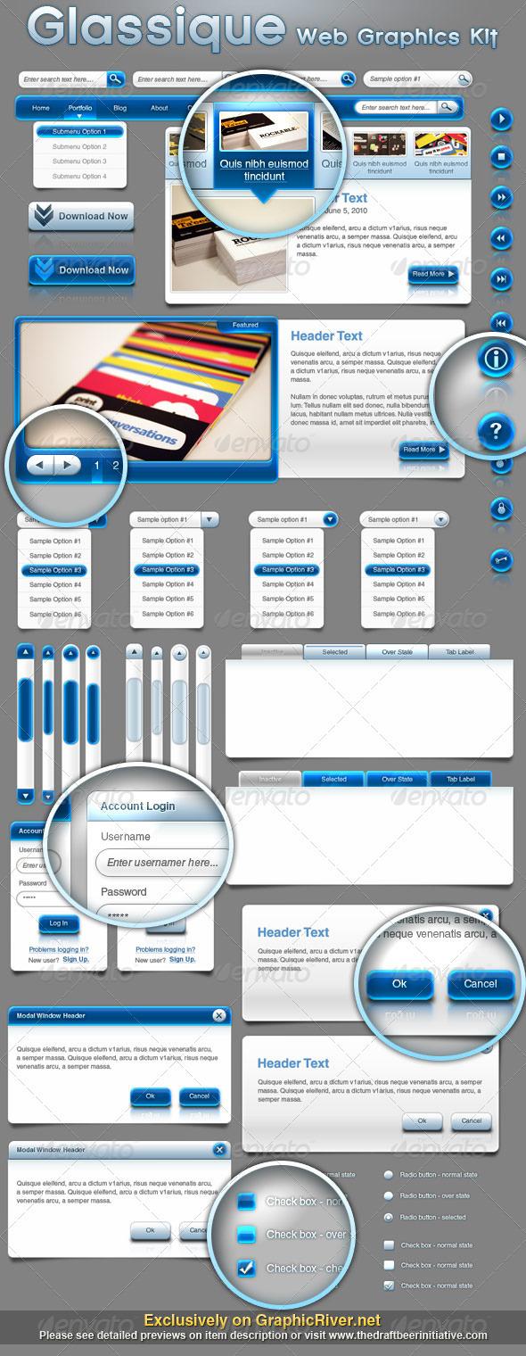 GraphicRiver Glassique Bleu Web Graphics Kit 111317