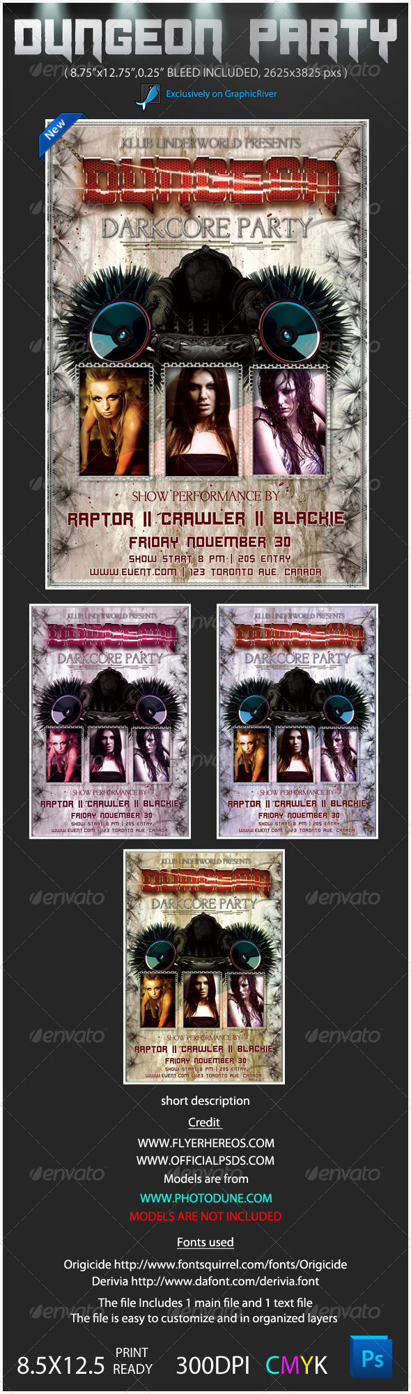 Graphic River Darkcore Party Poster Flyer Print Templates -  Flyers  Events  Clubs & Parties 808087