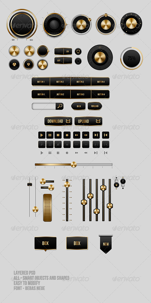 GraphicRiver Black and Gold UI Buttons 3598020