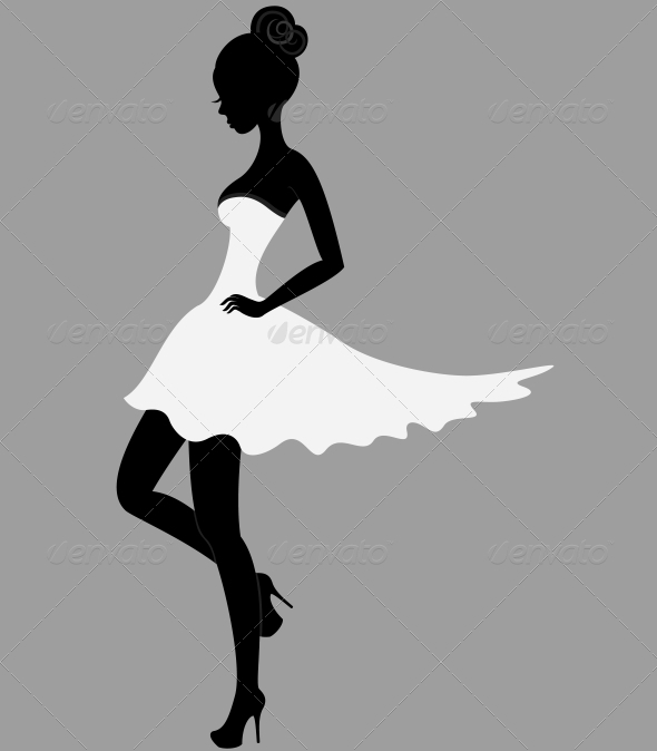 Beautiful girl in white dress | GraphicRiver