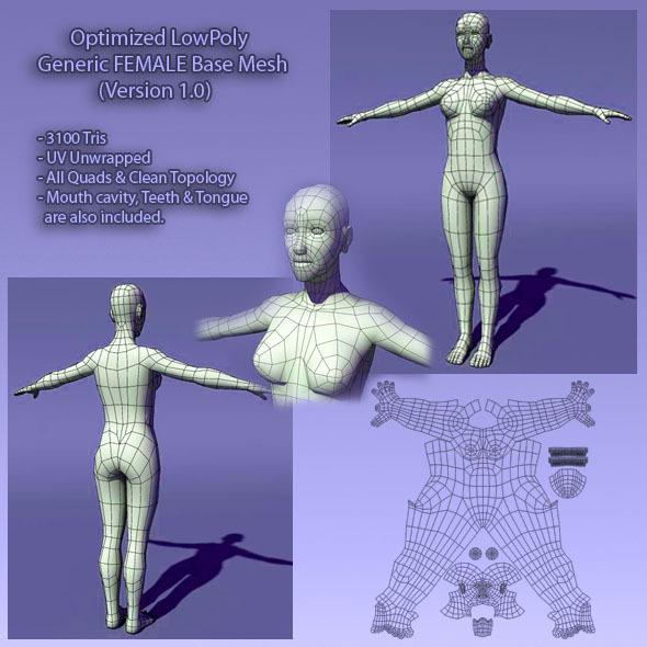 3DOcean Optimized Low Poly Human Female Base Mesh Ver1.0 405117