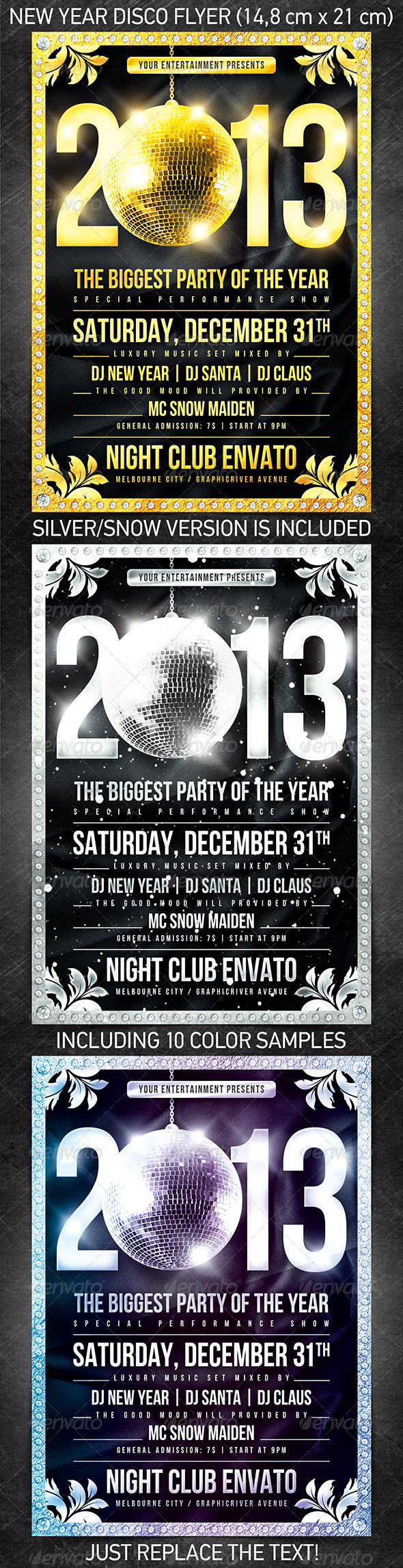 Graphic River New Year Disco Flyer Print Templates -  Flyers  Events  Clubs & Parties 943057