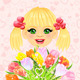 Vector pretty Girl with festive bouquet of Flowers - GraphicRiver Item for Sale