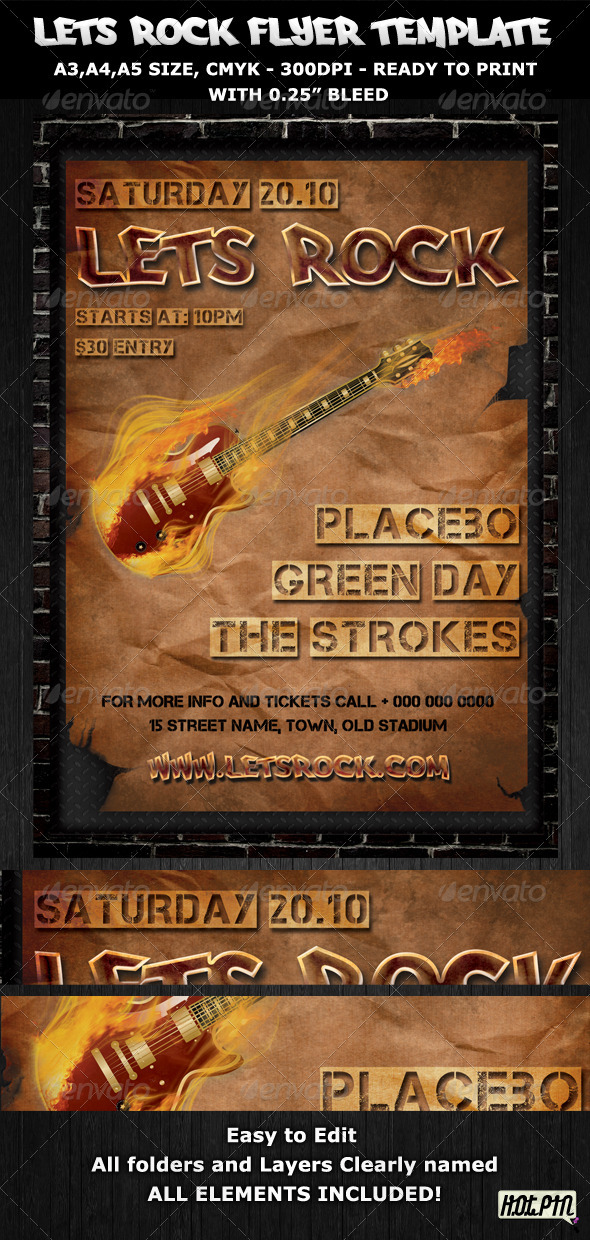 GraphicRiver Rock Party-Concert Flyer-Poster Template 406588