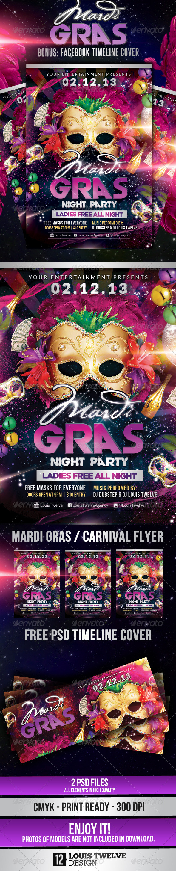 gras carnival party flyer facebook timeliine cover about this flyer ...