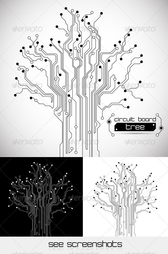 GraphicRiver Circuit Board Tree Abstract Background 407690