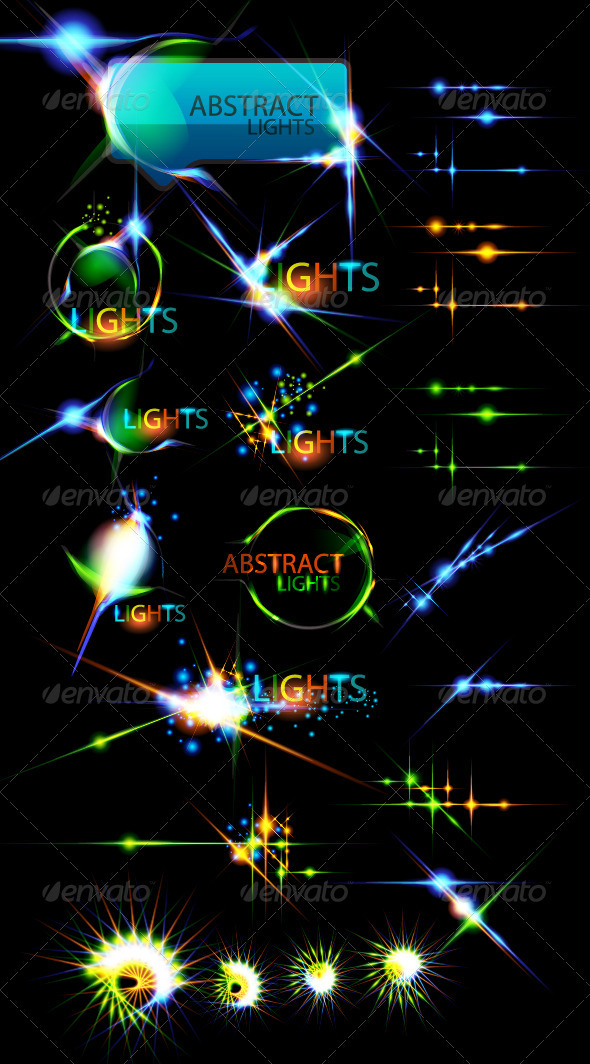 GraphicRiver Vector collection of color lightning effects 408737