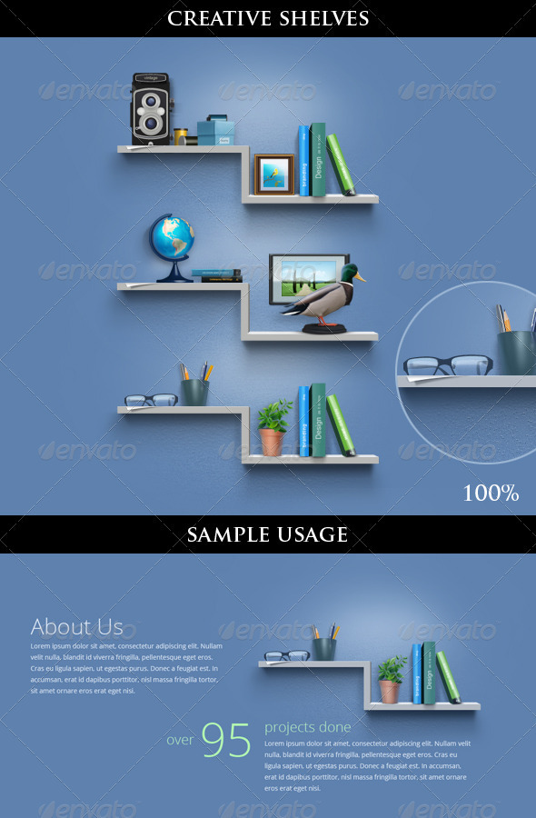 GraphicRiver Creative Book Shelves for About Us Page Including Icons 409194