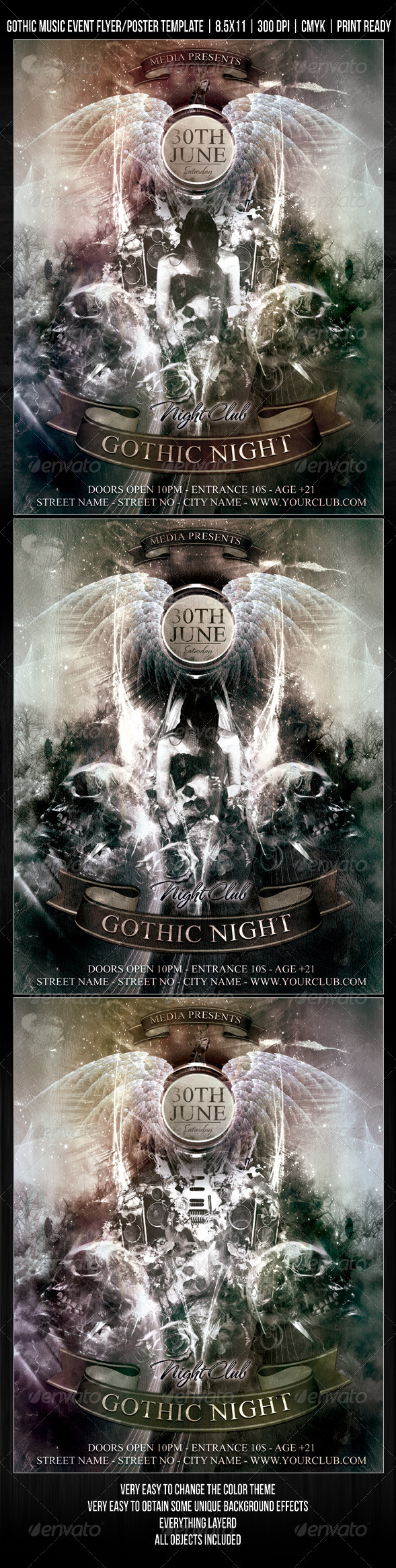 GraphicRiver Gothic Night Club Music Event Flyer Poster 409795