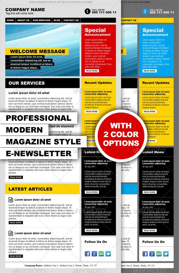 GraphicRiver Professional Modern Magazine Style E-newsletter 411206