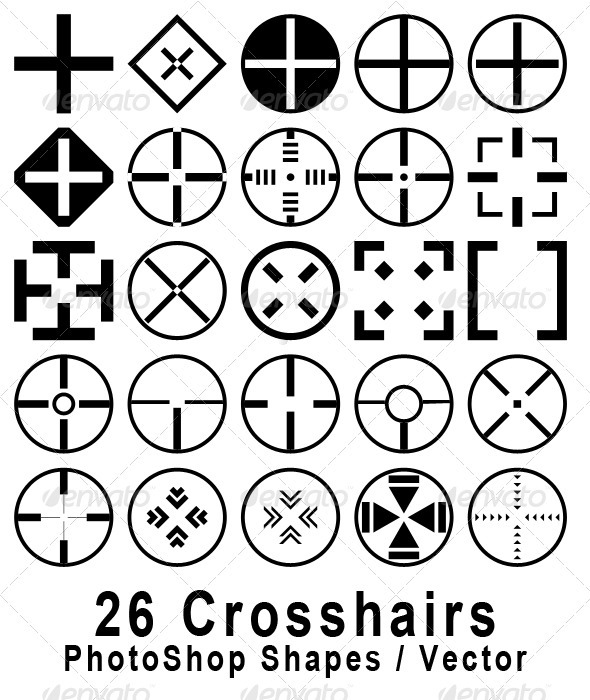 26 Crosshair Shapes For Adobe Photoshop