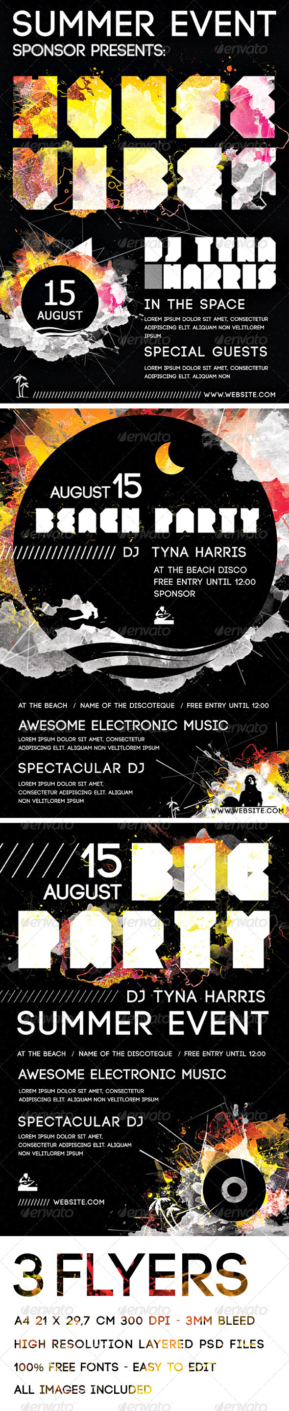 GraphicRiver A4 Electronic Music and Beach Party Flyers Pack 411435