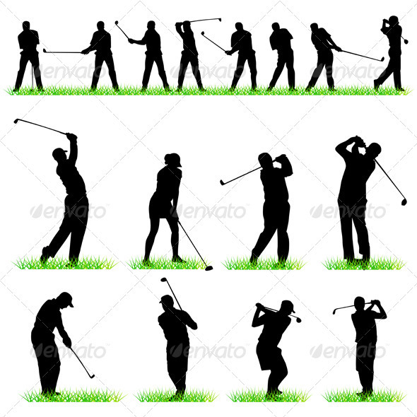 GraphicRiver Golf Players Silhouettes Set 411589