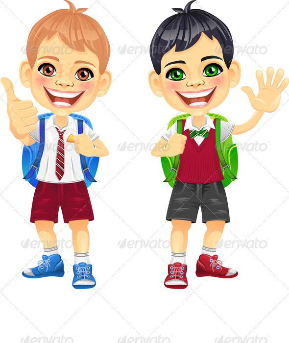 GraphicRiver Vector Happy Smiling Schoolchildren Boys 3852601