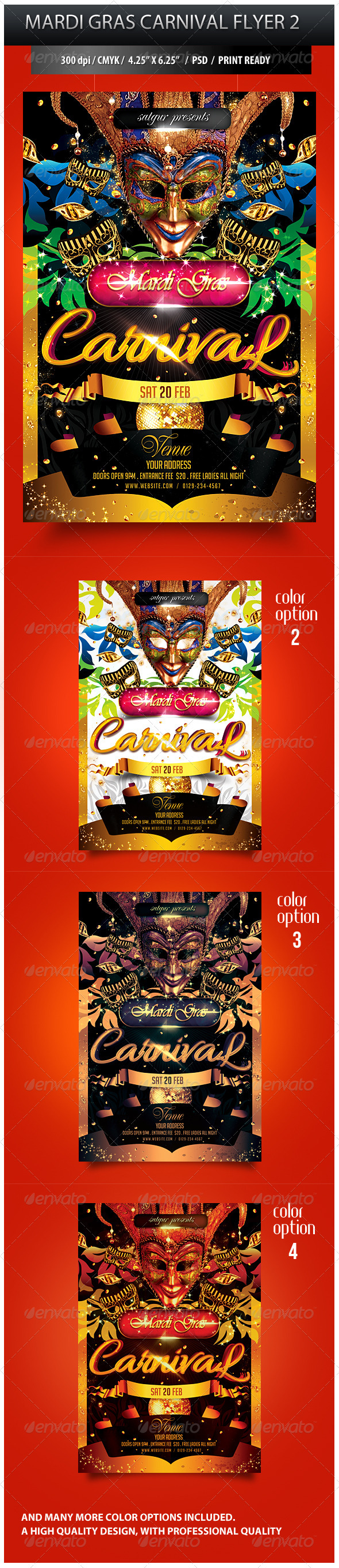 Mardi Gras Carnival Party Flyer 2 - Clubs & Parties Events