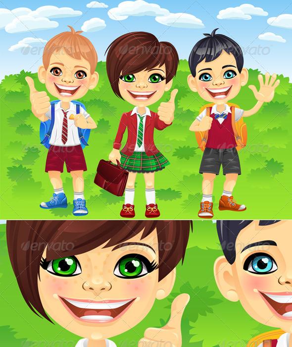 GraphicRiver Vector Smiling Schoolchildren Boys and Girl 3864418