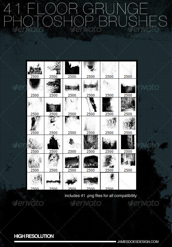 GraphicRiver 41 Floor Grunge Brushes 3891507