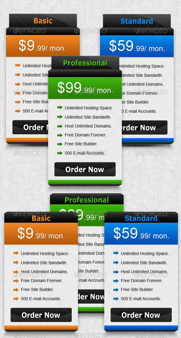 Graphic River Semi 3D Pricing Box Web Elements -  Tables 428193