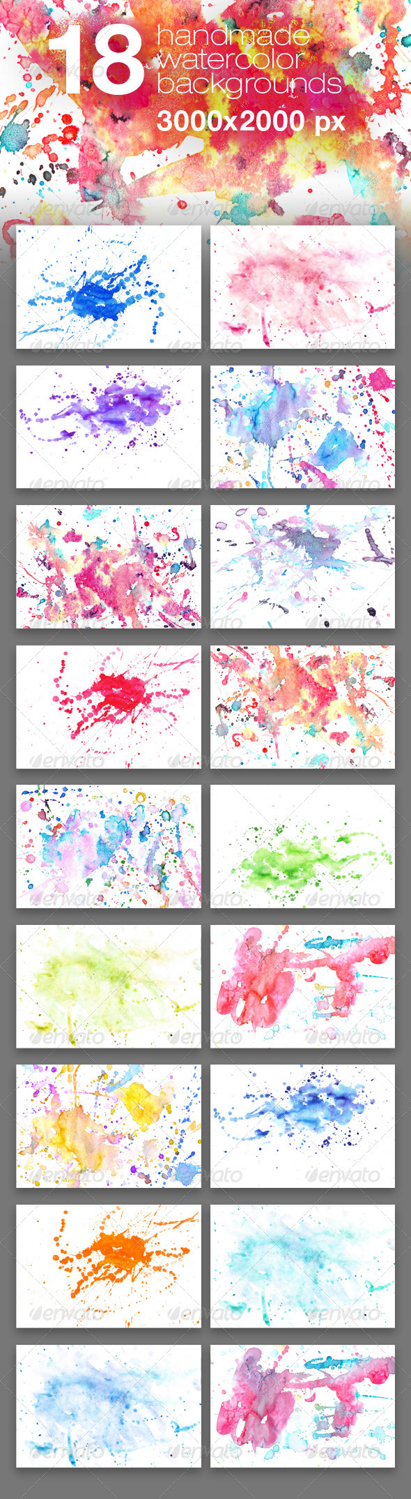 Graphic River 18 Handmade Watercolor Texture Backgrounds Textures -  Miscellaneous 428273