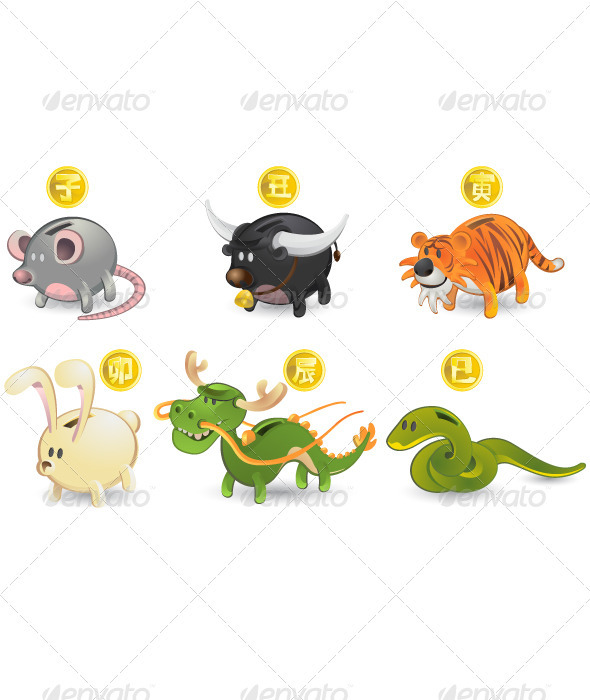 Graphic River Chinese Zodiac Rat Ox Tiger Rabbit Dragon Snake Vectors -  Characters  Animals 430035