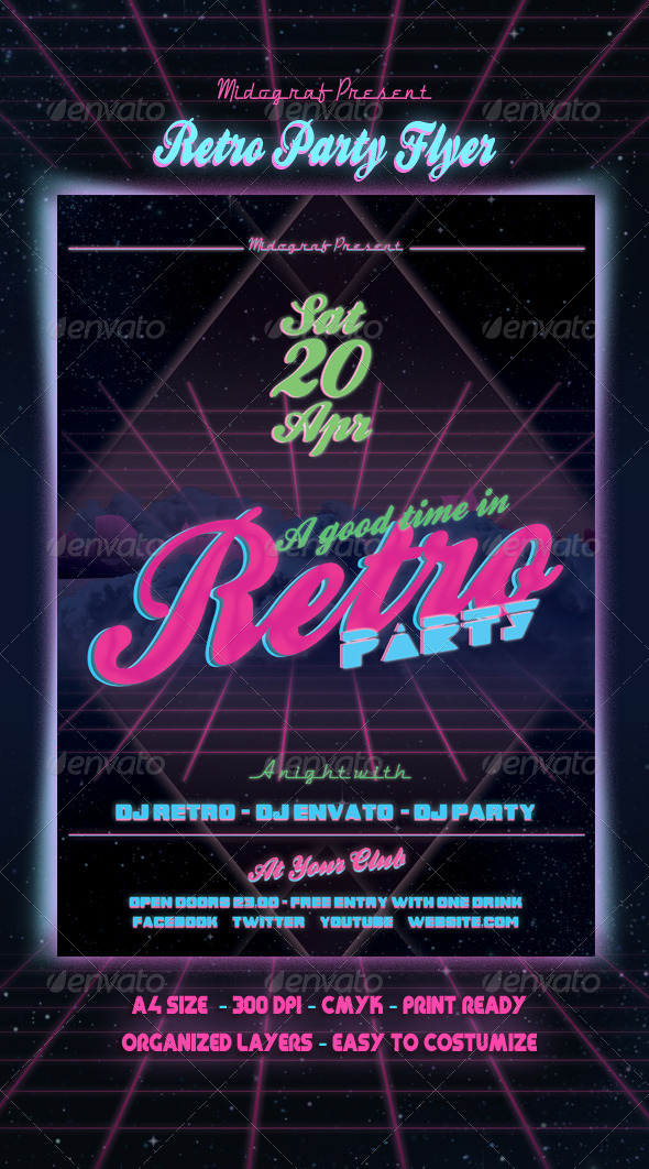 GraphicRiver Retro Party Flyer 4019370