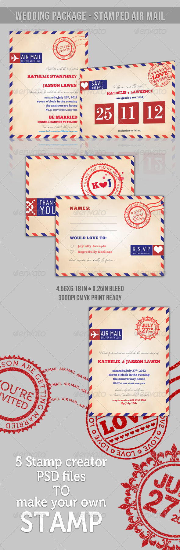 GraphicRiver [ Wedding Package ] Stamp Air Mail 436036
