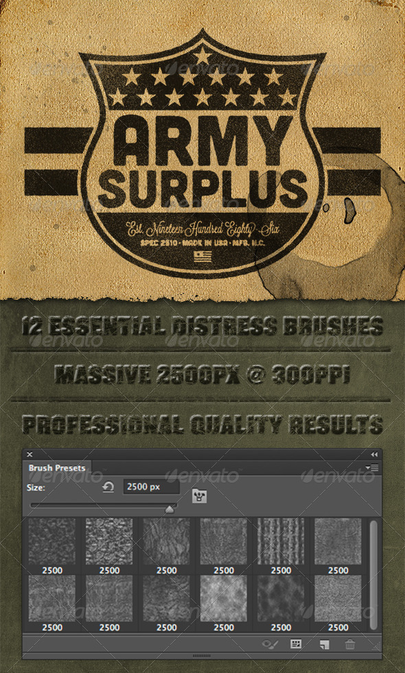 GraphicRiver 12 Photoshop Lite Distress Texture Brushes 4038498