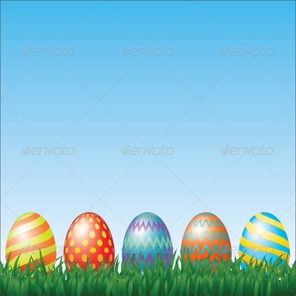 GraphicRiver Easter Eggs and Grass 4042948