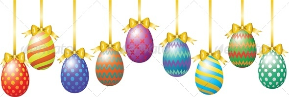 GraphicRiver Hanging Easter Eggs with Bow 4042970