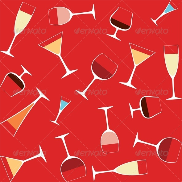 GraphicRiver Seamless Background With Alcohol in Glasses 4043112