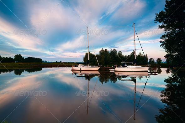 PhotoDune two yachts on river at sunrise 4102101