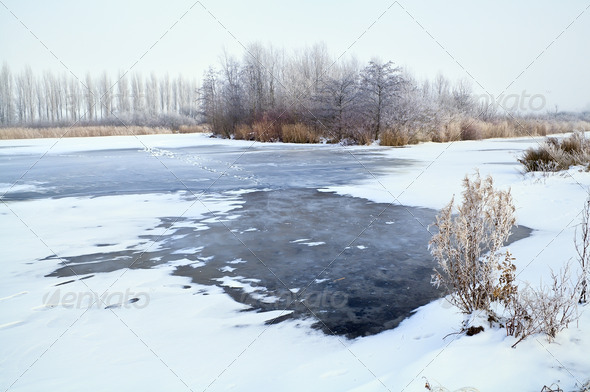 PhotoDune big frozen lake in winter 4102161