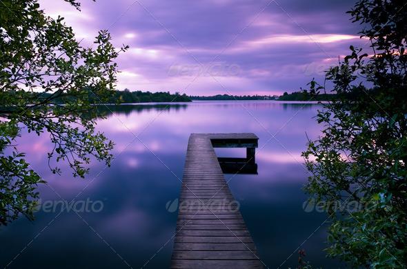 PhotoDune wooden pier at sunset 4102176
