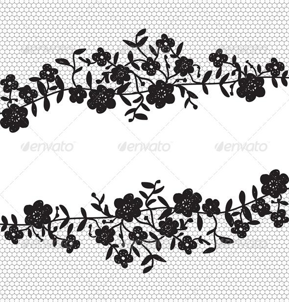 GraphicRiver Invitation Card with Floral Lace Border 4043746
